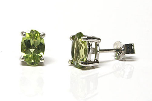 9ct White gold Peridot oval Studs Earrings Made in UK Gift Boxed