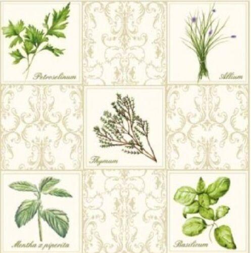 20 Vintage papel Servilletas 33 Cm X 33 Cm Para Fiestas O Decoupage-herbs1