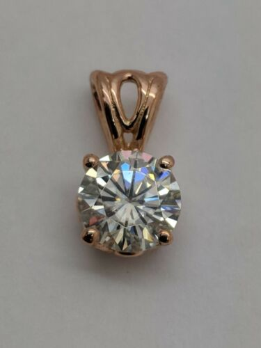 1CT MOISSANITE DIAMOND  SOLITAIRE PENDANT  SOLID 14K ROSE GOLD