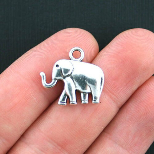 8 Elephant Charms Antique Silver Tone 2 Sided SC3744
