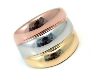 Gold-PVD-Triple-Color-Band-Ring-Tapered-Hypoallergenic-Surgical-Steel