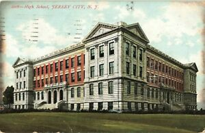 Postcard-High-School-Jersey-City-New-Jersey-Posted-1908