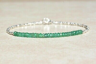 Bead Size 3MM-5MM 1 Inch Silver Extension TGW 28 CTS Zambian Emerald Bead Bracelet 8 Inch with Sterling Silver Lobster Clasp