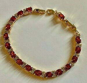 Gold-Bracelet-with-Sim-Diamond-amp-Garnets-7-25-034-to-8-25-034-GIFT-BOXED-amp-RRP-59-99