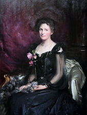 LANCE CALKIN 1859-1936 EDWARDIAN SOCIETY PORTRAIT OIL PAINTING ART ANN BUDAY