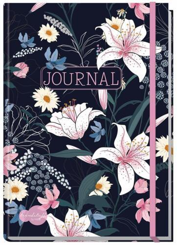 von Trendstuff,Notizbuch QQ Dark Flower Bullet Journal dotted A5 mit Gummiband