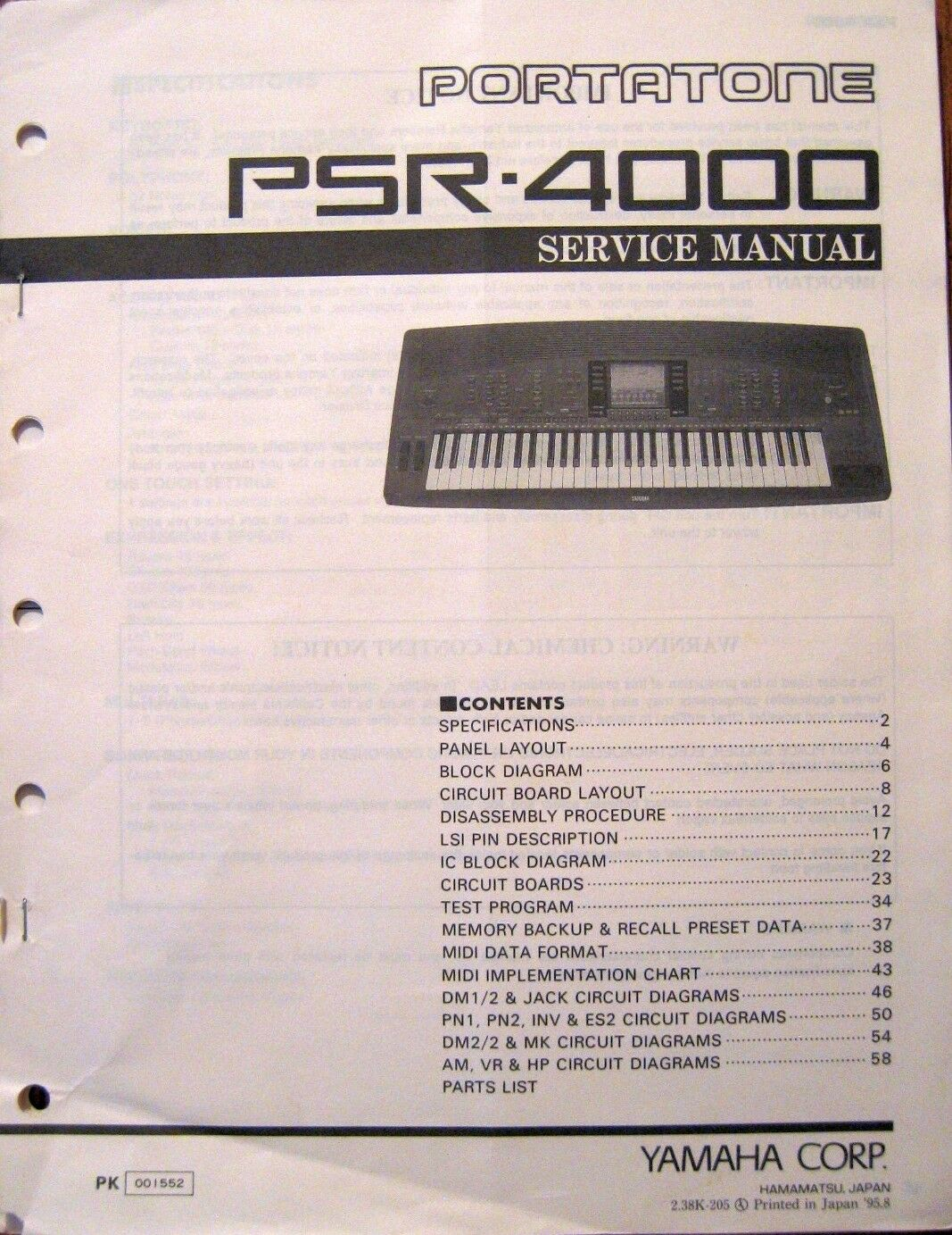 Yamaha Psr 4000 Portatone Midi Keyboard Workstation Original Service Wiring Diagram Manual Book Ebay