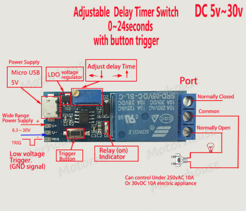 DC 5v 12v 24v Adjustable Trigger Delay Timing Timer Relay Switch