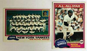 1981-Topps-New-York-Yankees-Complete-Team-Set-30-Cards-Reggie-Jackson