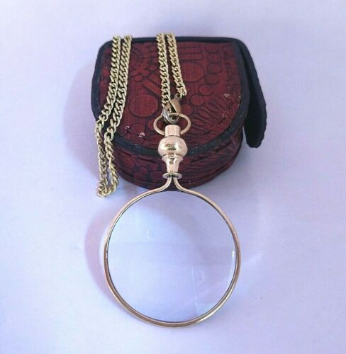 Vintage Necklace Chain.Magnifying Glass Monocle for Library Reading Fine Print
