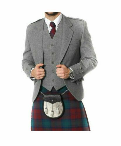 100/% WOOL Argyle kilt Jacket /& Waistcoat//Vest Scottish Argyle Jacket Light Grey