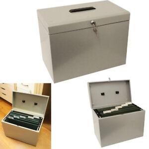 New Metal Box Home Office Filing A4 File Organiser Folder Document Lockable Grey