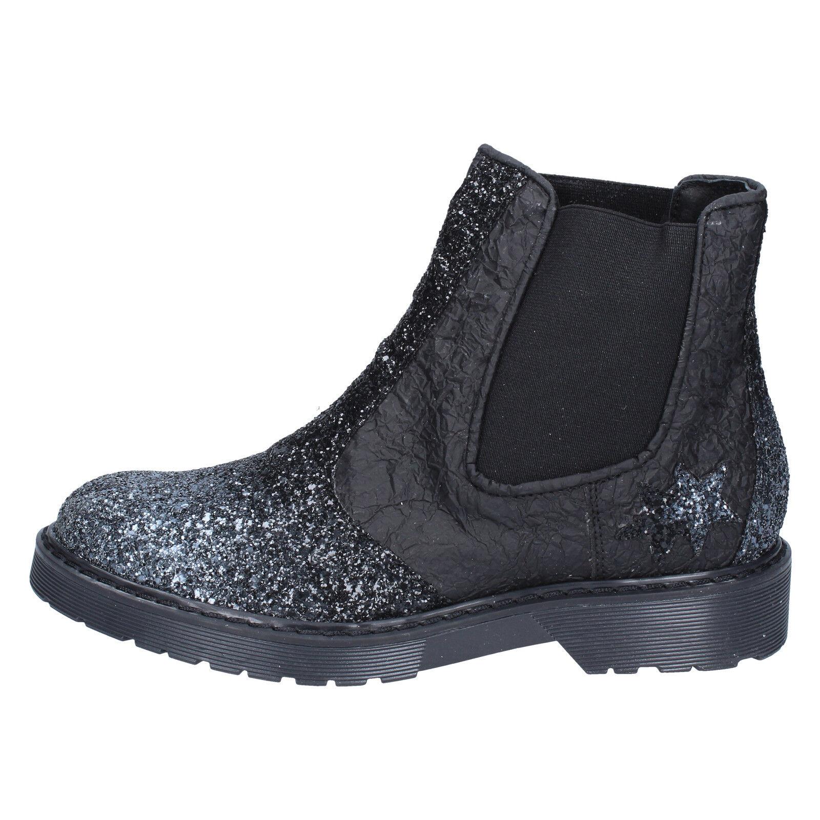 Scarpe donna 2 STAR 38 stivaletti argentooo nero glitter pelle tessuto BX374-38
