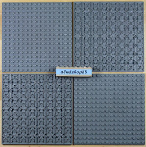 "LEGO - 16x16 Dots (5""x5"") Dark Bluish Gray Baseplate Lot 91405 Thick Base Plate"