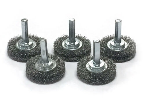 "Carbon Steel Wire 5 Pack 1-1//2/"" Mounted Crimped Wire Wheel"