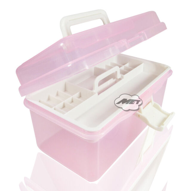 Plastic Empty 2 layer Storage Case Box Nail Art Craft Makeup Collection Containe