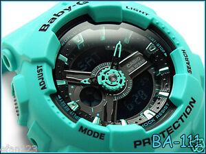 BA-111-3A-Green-Casio-Baby-G-Analog-Digital-Resin-Band-Japan-100M-Ladies-Watches