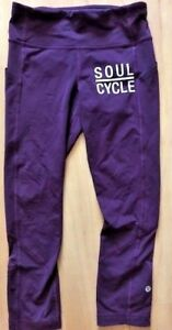 20d4375cd LULULEMON SOULCYCLE PACE RIVAL CROP PANTS size 4 Dark Plum Run Yoga ...