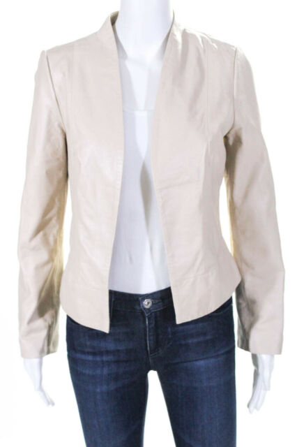 Joie Womens Long Sleeve Solid Print Open Front Blazer Beige Leather Size Small