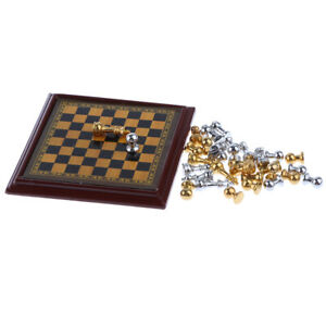 Dollhouse-Miniature-Toy-Delicate-Metal-Chess-Set-and-Board-1-12-Scale