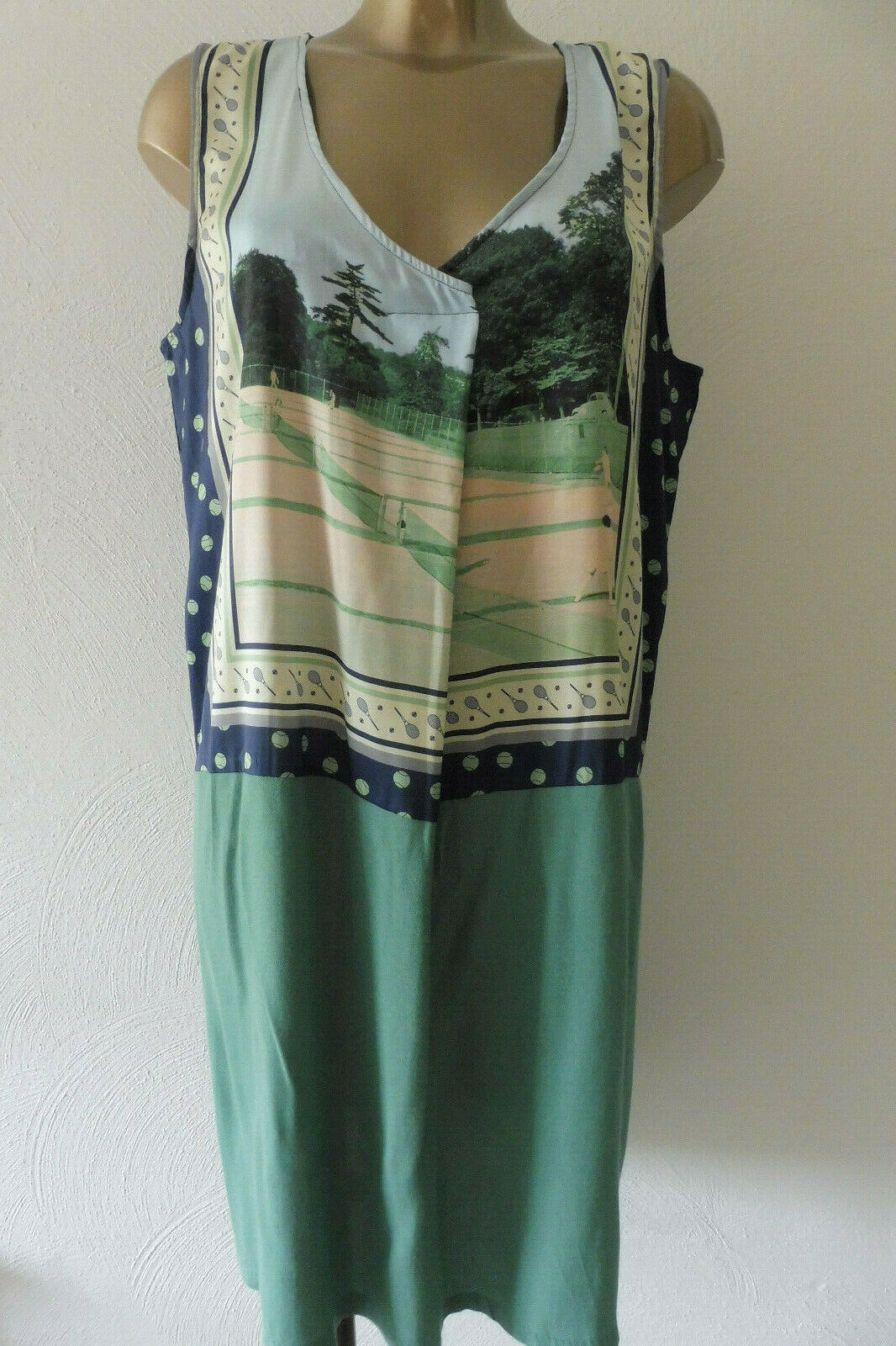 Nice things Paloma S. Kleid 55% Leinen Designer Vintage Retro Gr XL 42 K416