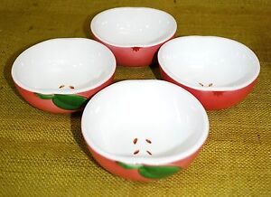SET-OF-4-Apple-Shaped-Small-Ceramic-Bowls-Appetizers-Dip-Nuts-Cereal-Fruit