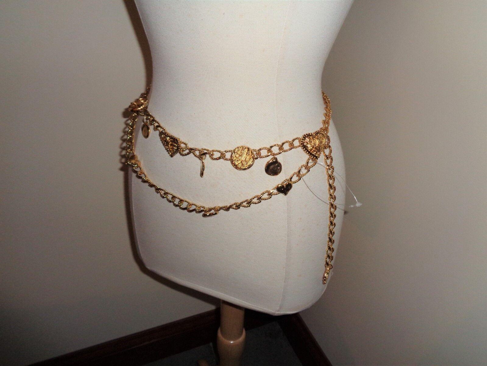 Ceinture en or à mailles doubles pour femme avec coeurs de pépites en or, taille M / L
