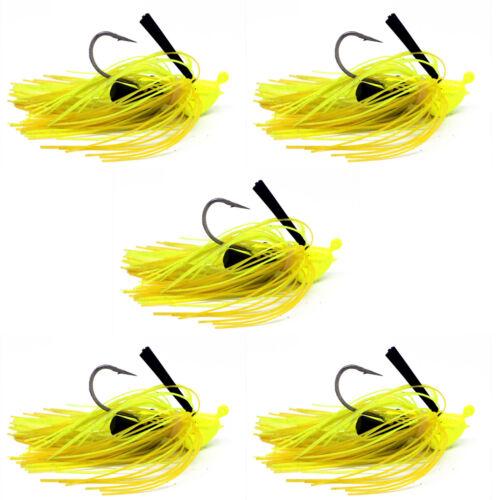 "5pc Yellow Football Head Jig Jigs Gig Full Skirt Fishing Lure Bait 0.8oz//3/"" NEW"