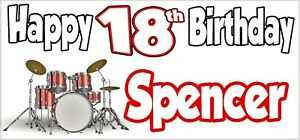 Drums 15th Birthday Banner X2 Party Decorations Boys Girls Teenager ANY NAME