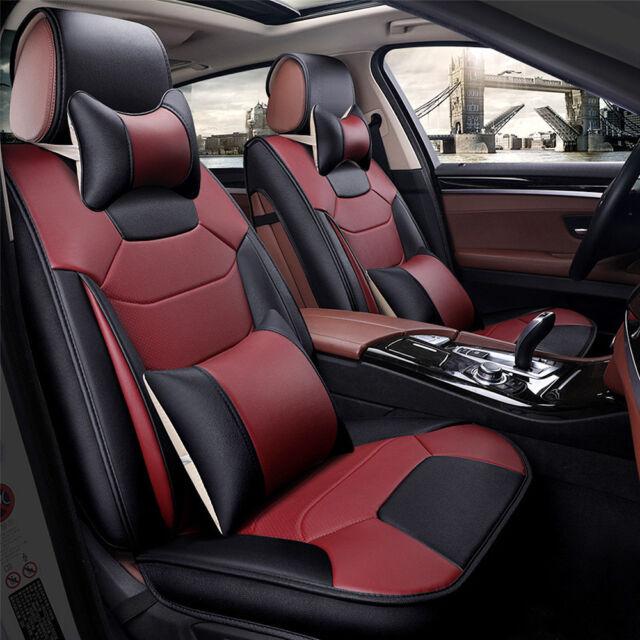 Burgundy 5 Seats Car Suv Mircrofiber Leather Seat Covers L Size Front Back Set