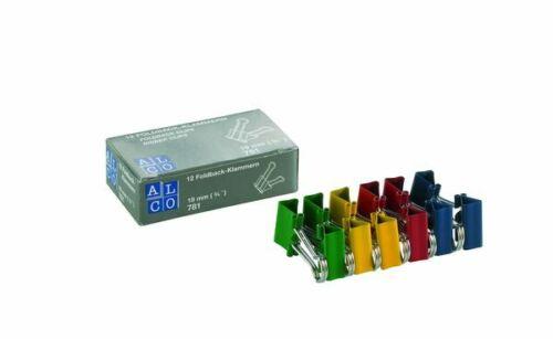 12 Stk 19mm Foldback-Clips Klammern Alco 781 S26 Foldbackklammern farbig sort