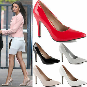 LADIES-WOMENS-MID-HIGH-STILETTO-HEEL-POINTED-PARTY-WORK-PROM-COURT-SHOES-SIZE