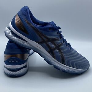 Asics-Gel-Nimbus-22-Blue-Gold-Men-Running-Shoe-SZ-14-WIDE-Worn-Once