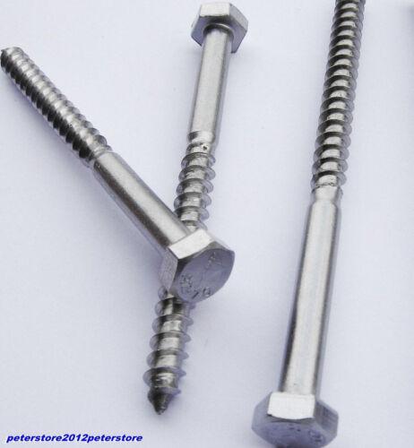50 Holzschrauben Schlüsselschraube DIN 571 Edelstahl VA M8 Sechskantschrauben