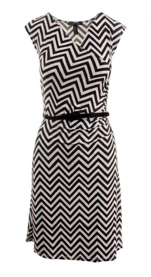 NWT LAUREN RALPH LAUREN  damen Matte Jersey Chevron Wear to Work Dress Größe L