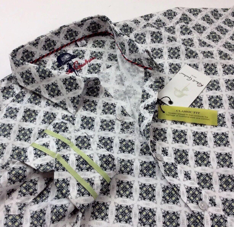 Robert Graham Men Vtg Retro Geometric Diamond Patterned Jacquard Sport Shirts
