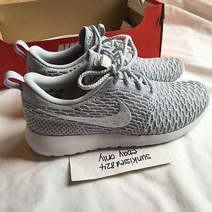 780aa0ed2054d Nike RosheRun Flyknit Wolf Grey Platinum White 704927 002 Size US8.5 ...