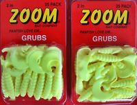 50 Zoom Grubs 2 Packs 2 Yellow Crappie Panfish Bass