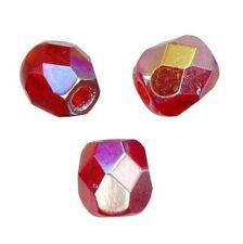 50 Perles Facettes cristal boheme 4mm - ROSE RUBY AB