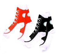 Sneaker Crew Socks Black Red Laces Womens OSFM New