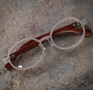 f1f4f759f84 Image is loading White-Gold-Diamond-Hip-Hop-Wood-Frame-Glasses