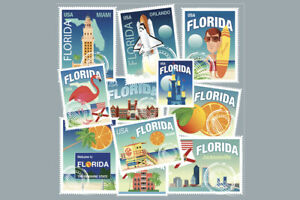 Details About Florida Miami Daytona West Palm Beach Travel Stamps Art Print Poster 18x12 Inch