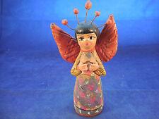 """Vintage Tonala Mexico nativity ANGEL WITH HALO handmade 5 3/4"""""""