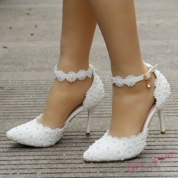 Womens Lace Pearl Wedding Prom Sandals High Heels Pointy Toe Ankle Strap Shoes