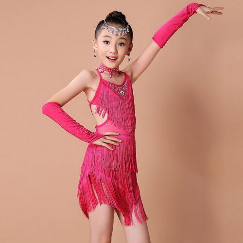 Toddler Kids Girls Latin Ballet Dress Dancewear Ballroom Dance Costumes Suit 4pc