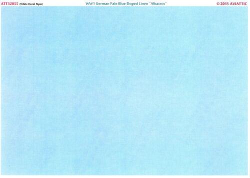 Aviattic Decals 1//32 PALE BLUE DOPED LINEN WWI Albatros Aircraft White Paper