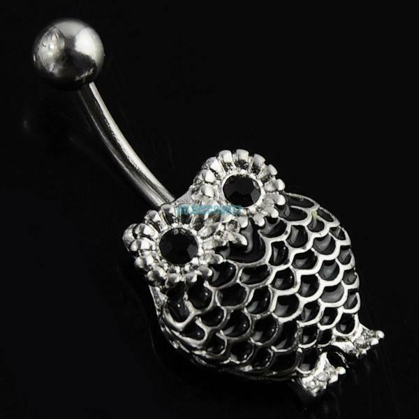 Retro Owl Dangle Stainless Steel Belly Button Navel Ring Body Piercing Jewellery