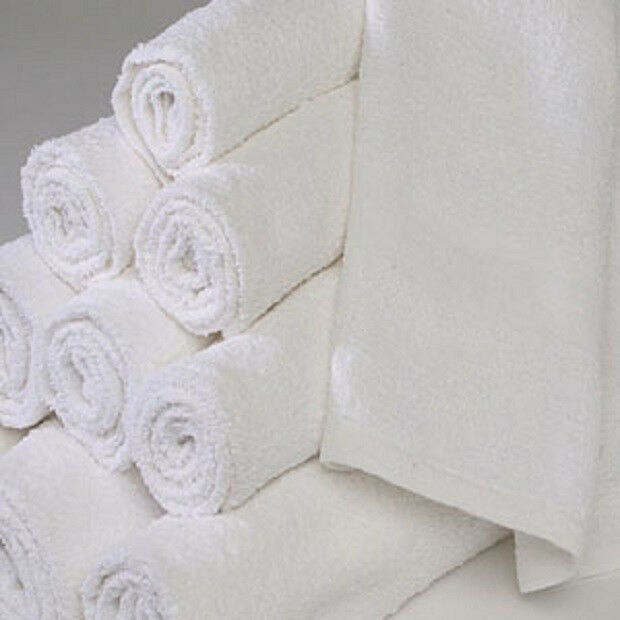 f4797446dd9 6 white 22x44 100 cotton terry bath towels salon gym 6  dozen economy