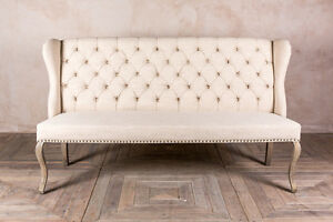 Delicieux Image Is Loading BUTTON BACK UPHOLSTERED 3 SEATER FRENCH LOUIS STYLE
