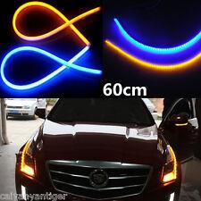 2x 60cm 12V LED Light Blue Amber Flexible Tube Switchback Headlight DRL Signal
